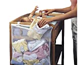 Moon's Habour Multi-purpose Baby Clothes Receive Bag & The Crib Large Capacity to Hang & Bag Grid Mesh Breathable Stuff Bag White