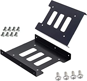 SSD HDD Holder 2.5 to 3.5 Mounting Bracket Hard Drive Adapter (2 Pack) (Black)