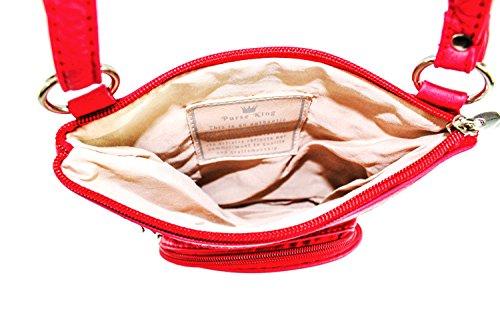 RFID Red Cross Body protected Organizer King Duchess Bag Purse Fqw6XBW