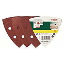 Bosch 2607019500 - Paquete de 25 lijas para lijadoras Delta (93 mm, grano 60, 120, 240)