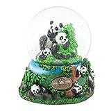 Playful Panda Bears 100mm Resin Glitter Water Globe Plays Tune Dark Eyes