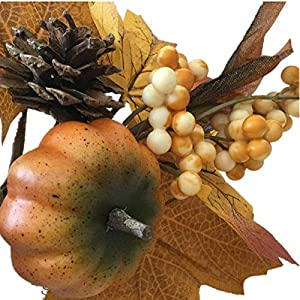 Merryoung Artificial Pumpkin Bouquet with Maple Leaves Berry Pinecones Decoration for Fall Display Wedding Party Holiday Miniature Garden Venue Decoration Craft DIY Pack of 1 5