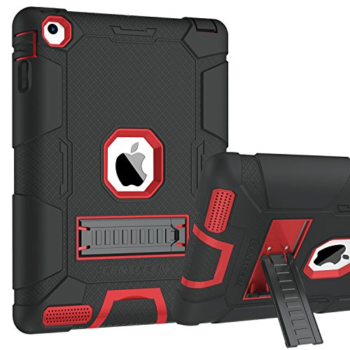 iPad 2 Case, iPad 3 Case, iPad 4 Case, BENTOBEN Heavy Duty Shockproof Kickstand Anti-slip 3 in 1 Full-body Rugged Soft Rubber Hard PC Protective Case for 9.7 iPad 2nd / 3rd / 4th Generation, Black/Red (Apple Ipad 4th Generation Wifi)
