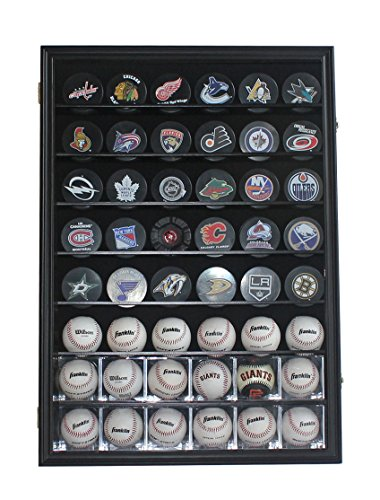 48 Baseball, Baseball Cubes, Hockey Pucks Display Case Holder Wall Cabinet, UV Protection Door, Lock. (Black Finish) ()