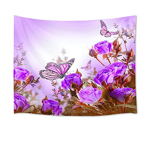 HVEST Rose Flower Tapestry Purple Butterflies and Flowers in Garden Wall Hanging Floral Tapestries for Bedroom Living Room Dorm Party Decor,80Wx60H inches from HVEST
