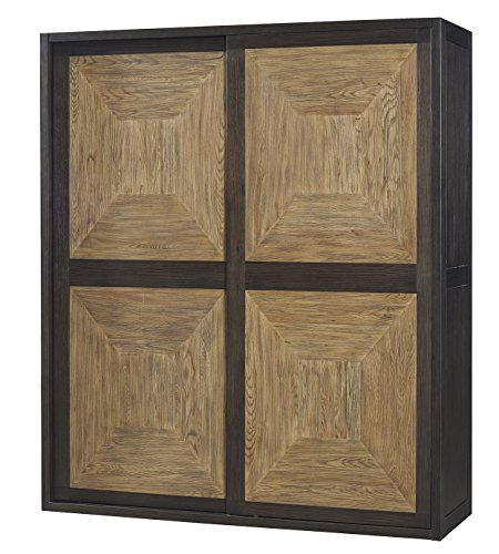 100% Solid Wood 2-Sliding Door Wardrobe Storage Cabinet,Espresso Solid Pine Wardrobes