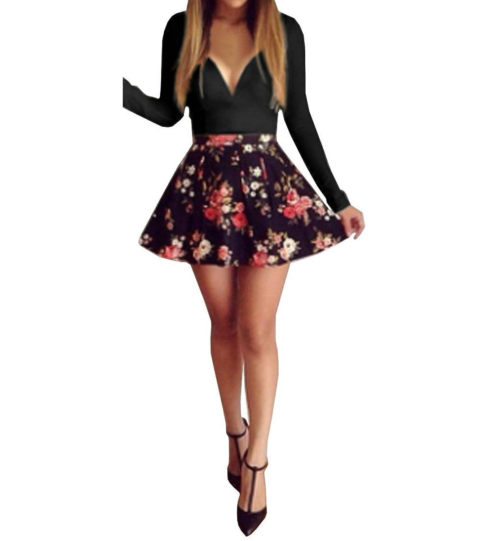 SUNNOW® Elegant Damen Kleider Langarm Herbst Rundhals Ausschnitt Streifen Rock Kurz PartyKleid Abendkleider Cocktailkleider Figurbetont