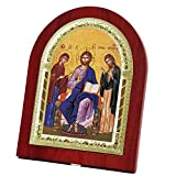 FengMicon Jesus Christ, the Mother of God & the Forerunner Wooden Back with Metal Trim Frame Christian Icon Catholic Gift