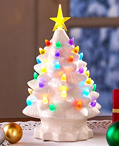retro lighted tabletop christmas trees white large - Amazon Christmas Trees