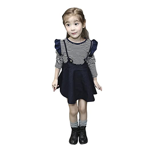d477dc383 Amazon.com: ❤ Mealeaf ❤ Toddler Kid Baby Girl Dress Long Sleeve Stripe Tops  T Shirts + Denim Dresses Tutu Skirts 0-6t: Clothing