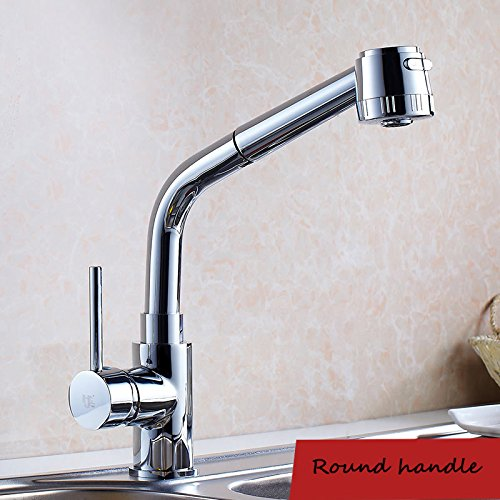 Vinteen European Style Brass Kitchen Pump Pull Formula Faucet Hot and Cold Sink Wash Basin Faucet Tap Can Rotate Telescopic Shower Water Tap Double Outlet (Size : Round Handle)