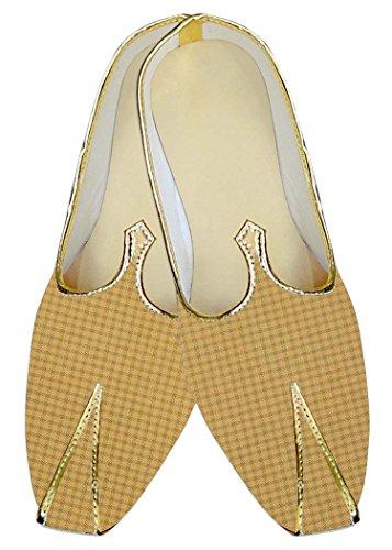 INMONARCH Hombres Gelb Kontrollen Poly Viskose Hochzeit Schuhe MJ015674
