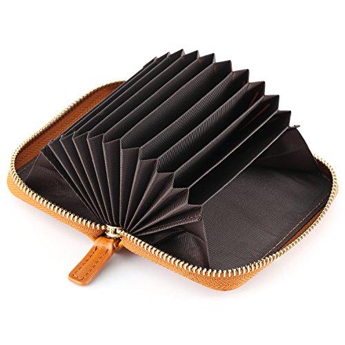 Kattee Leather Zip Around Wallet, Women's RFID Credit Card Small Wallet Brown by Kattee (Image #5)