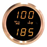 VEI Systems Dual-Display gauge: 100 PSI oil pressure and 320 deg-F water/coolant temperature (orange/silver)