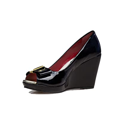 8ea3bdccd7a4 LINA ZEINEDDINE Women s Allie II Black Patent Leather Open Toe Wedge Pump 36