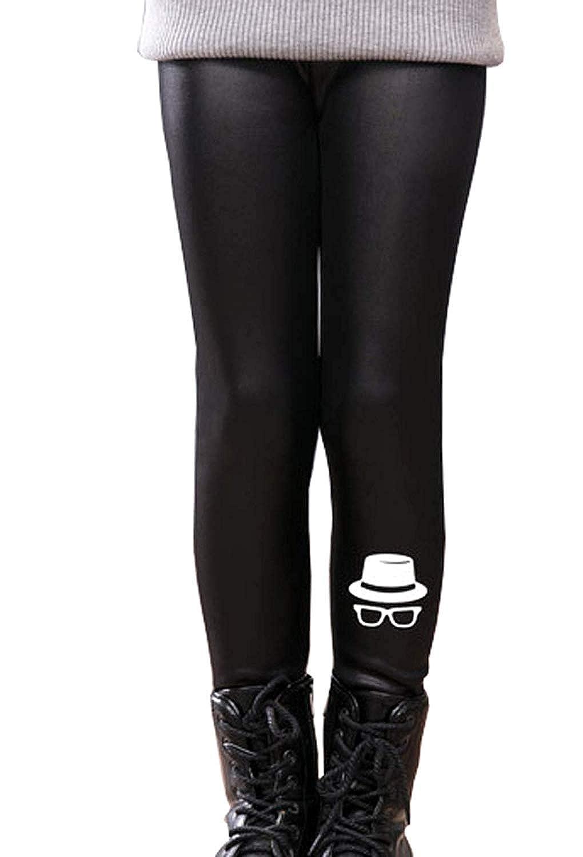 Girls PU Leather Legging Thicken Winter Warm Floral Fleece Long Pant