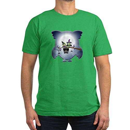 Truly Teague Men's Fitted T-Shirt (Dark) Little Spooky Vampire Owl With Friends - Kelly Green, XL -