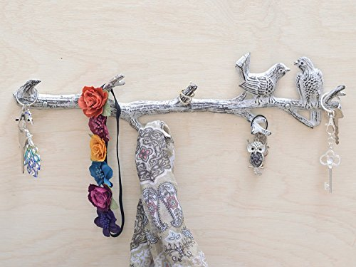 """Cast Iron Birds On Branch Hanger With 6 Hooks 