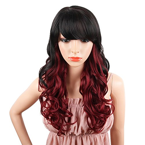 - SCENTW Wine Red Curly Wavy Synthetic Wigs for women - Natural Looking Long Wavy Full wigs Heat Resistant Replacement Wig 24 inches(Wine red)