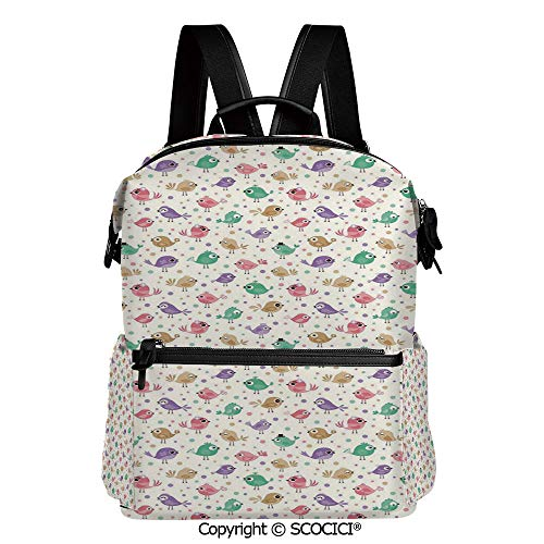 SCOCICI Medium Backpack for School&Travel,Cute Birds with Various Colors Facial Expressions Funny Animal Caricature Characters,L11.4xW6.3xH15 Inches