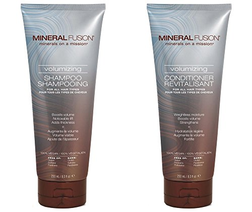 Mineral Fusion Volumizing Shampoo and Conditioner Bundle with Certified Organic Aloe Vera Leaf Juice, Malachite Extract, Smithsonite Extract, Jojoba Seed Oil and Montmorillonite Clay, 8.5 fl. oz. each