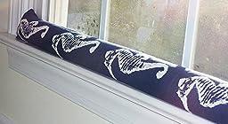 Draft Stopper - Sea Horse Navy Blue - Unfilled Window or Door Draft Stopper