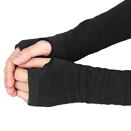 Paymenow Womens Winter Knit Long Fingerless Gloves Costumes Accessories (Black) ()