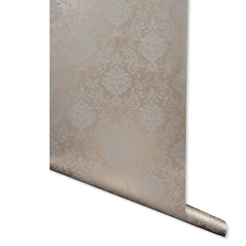 Metallic Imprint, Bronze Damask Wallpaper for Walls - Double Roll - by Romosa Wallcoverings BB7303 ()