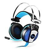 PS4 Gaming Headset, KOTION EACH GS500 Game Headphone Earphone Headband with Mic Stereo Bass LED Light for PS4 PC Computer Laptop Mobile Phones (Blue) For Sale