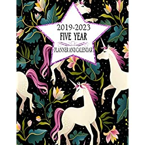 2019-2023 Five Year Planner And Calendar: Black Rainbow Unicorn 60-Month Planner – Monthly Agenda And Organizer (Simple…
