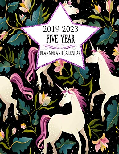 2019-2023 Five Year Planner And Calendar: Black Rainbow Unicorn 60-Month Planner - Monthly Agenda And Organizer (Simple… 3