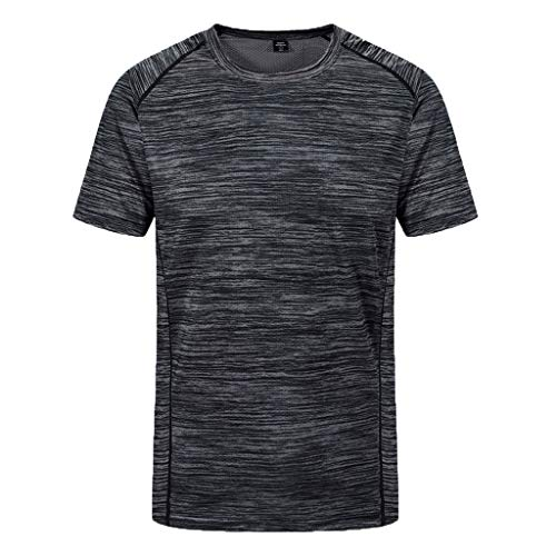 refulgence Men's Round Neck Loose Size Sports Fitness Short Sleeves Quick-Drying Top(Gray,XXXXXL)