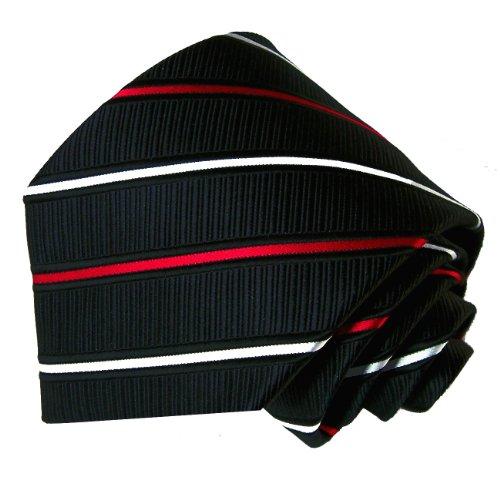 LORENZO CANA Jacquard Woven Italian 100% Silk Necktie Black Red White Striped 84022