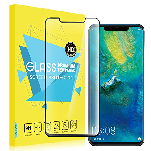 MoKo Screen Protector for Huawei Mate 20 Pro, [Scratch Terminator] [Case Friendly] HD Clear 9H Hardness Tempered Glass Screen Protector Film Bubbles-Free for Huawei Mate 20 Pro - Black