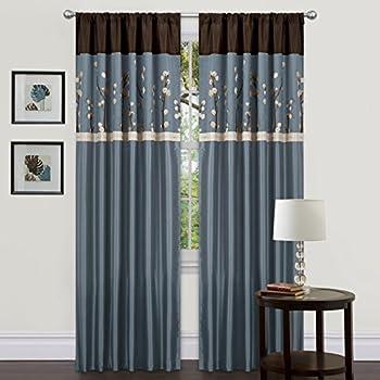 Amazon Com Lush Decor Flower Drop Curtain Panel Blue