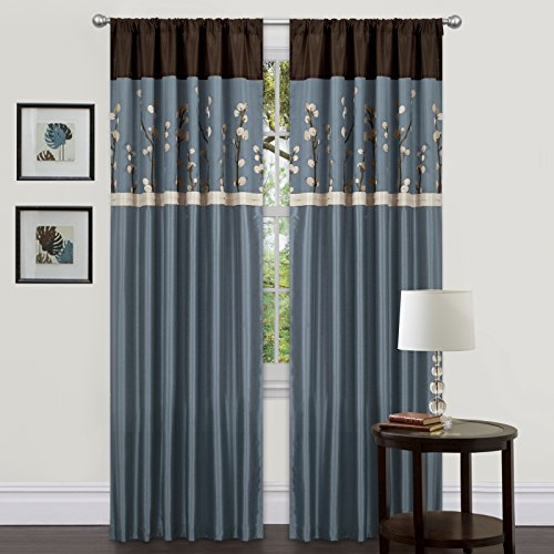 Triangle Home Fashions Lush Decor, 42-Inch X  84-Inch Cocoa Blossom Curtain, Blue/Brown, 2 Panels (And With Curtains Blue Brown)