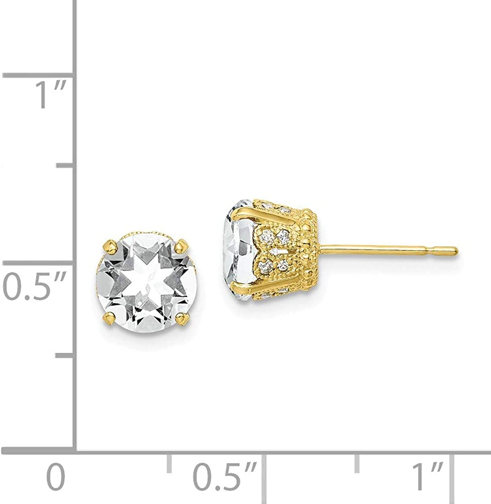 Mia Diamonds 10k Yellow Gold Tiara Collection Diamond Lab Created White Sapphire Post Earrings