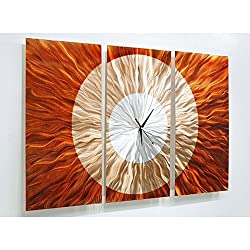 Large Contemporary Wall Clock with Orange, Gold and Amber Jewel Tone Fusion - Modern Metal Wall Art Home Accent - Hanging Wall Clock - Afterglow Clock By Jon Allen - 38-inch