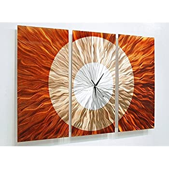 large wall clock with orange gold and amber jewel tone fusion modern metal