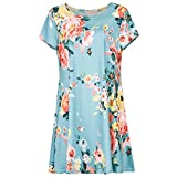 Hgvoetty Women's Crew Neck Printed Loose Fit Casual Blouse Top Tunic Shirt for Leggings S