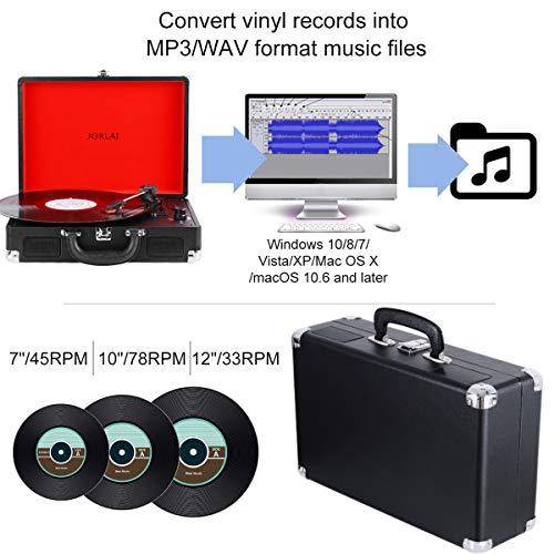 Plattenspieler Bluetooth JORLAI Vinyl-Player mit Riemenantrieb Wiederaufladbarer 3-Gang Stereolautsprecher Cinch Aux-In