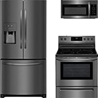 Frigidaire 3-Piece Black Stainless Steel Kitchen with FFHB2750TD 36 French Door Refrigerator, FFEF3054TD 30 Freestanding Electric Range, and FFMV1645TD 30 Over the Range Microwave