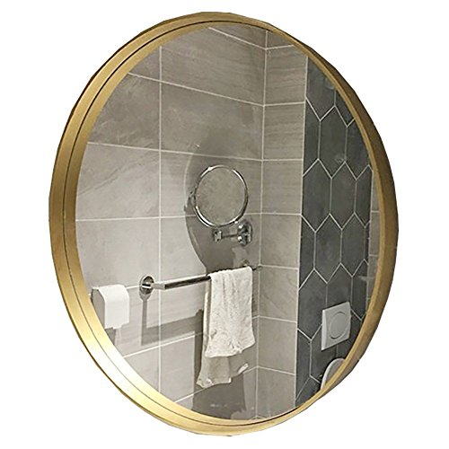 GUOWEI Mirror Bathroom Wall Mount Makeup Vanity Dressing Round Iron Framed 4 Size (Color : Gold, Size : 50x50cm)