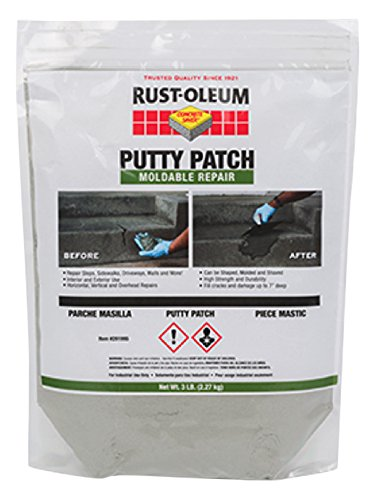 (RustOleum 291995 Gray Concrete Saver Putty Patch, 3 lb, 16 gal, Pouch (Pack of 6))