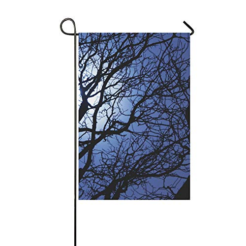 Home Decorative Outdoor Double Sided Sly Dark Forest Spooky Branch Nature Halloween Gray Black Horror Atmosphere Garden Flag,house Yard Flag,garden Yard Decorations, Welcome Outdoor Flag12X18In