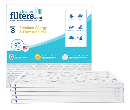 Cleaner Filters 12x18x1 Air Filter, Pleated High Efficiency Allergy Furnace Filters for Home or Office with MERV 8 Rating (6 Pack)