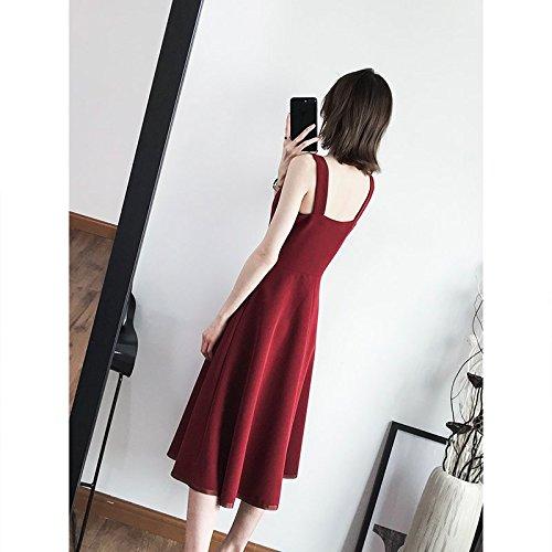 MiGMV Style de Rouge Long Jupe Femme sans Jupe Porte 2018 Manches Black Robe d'usure rtro Jarretelles XS l't vin Robes temprament Nouveau Une r74rzq