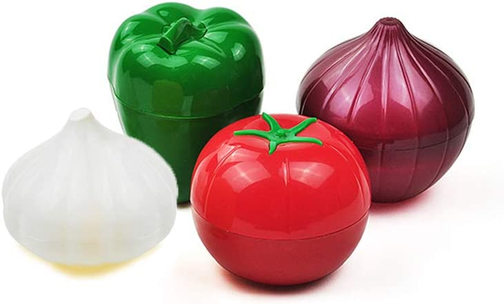 IEVEY 4-Pack Kitchen Vegetable Storage Containers,Refrigerator Vegetable Crisper for Peppers, Garlic, Tomatoes, and Onions (300mL)