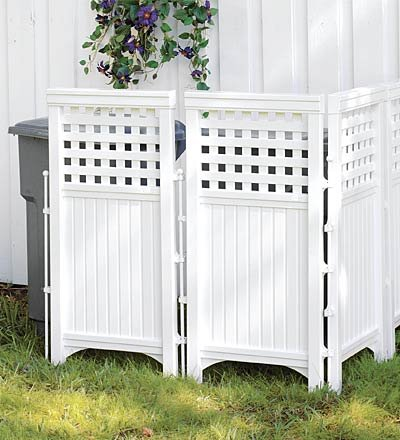 Plow & Hearth 20296 Adjustable Outdoor White Resin Four-Panel Screen (Resin Panel)