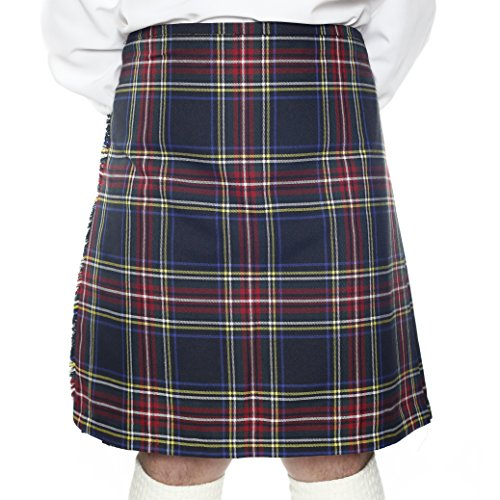 Kilt Society Mens 8 Yard Scottish Kilt Stewart Black Tartan 42
